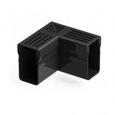 Threshold Drainage Corner Black Aluminium Grating
