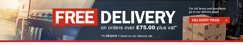 FREE DELIVERY on orders over £75 plus vat to Region 1 listed on our delivery tab.
